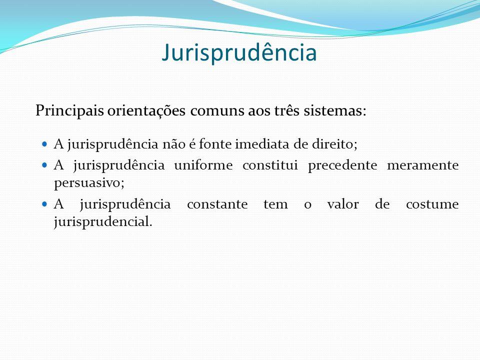 Jurisprudência Principais orientações comuns aos três sistemas: A jurisprudência não é fonte imediata de direito; A jurisprudência uniforme constitui