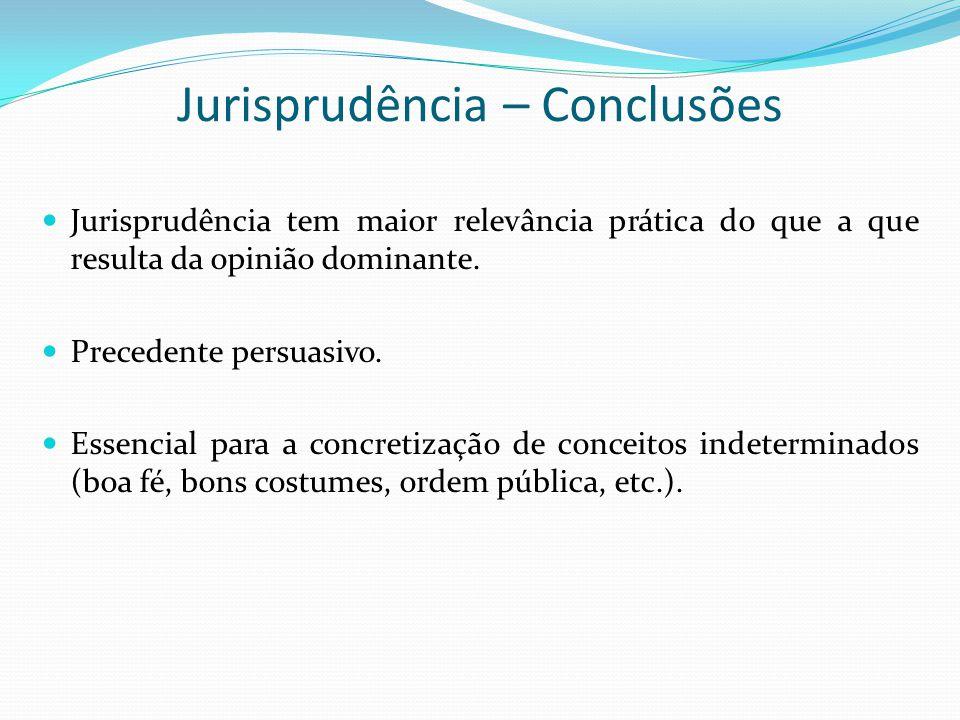 Jurisprudência – Conclusões Jurisprudência tem maior relevância prática do que a que resulta da opinião dominante. Precedente persuasivo. Essencial pa