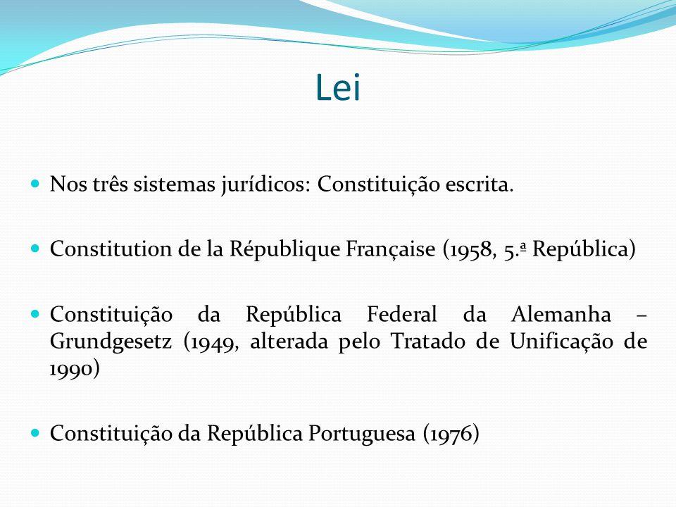 Lei Nos três sistemas jurídicos: Constituição escrita. Constitution de la République Française (1958, 5.ª República) Constituição da República Federal