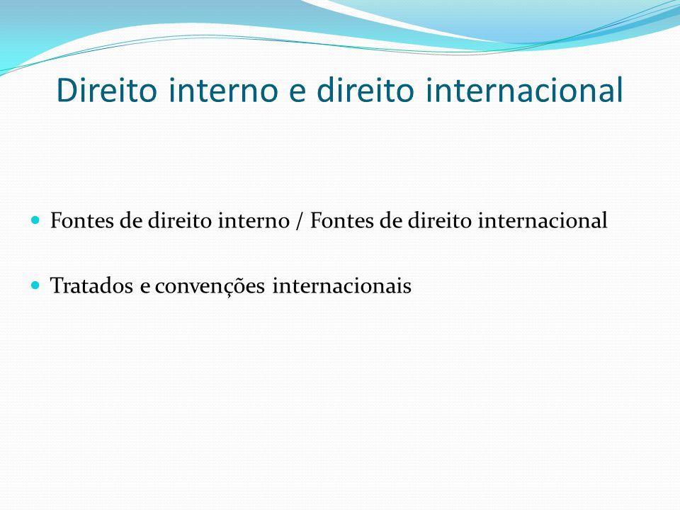 Direito interno e direito internacional Fontes de direito interno / Fontes de direito internacional Tratados e convenções internacionais