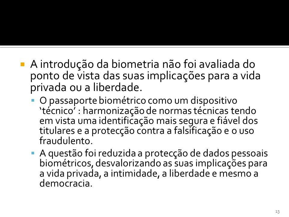 A introdução da biometria não foi avaliada do ponto de vista das suas implicações para a vida privada ou a liberdade.