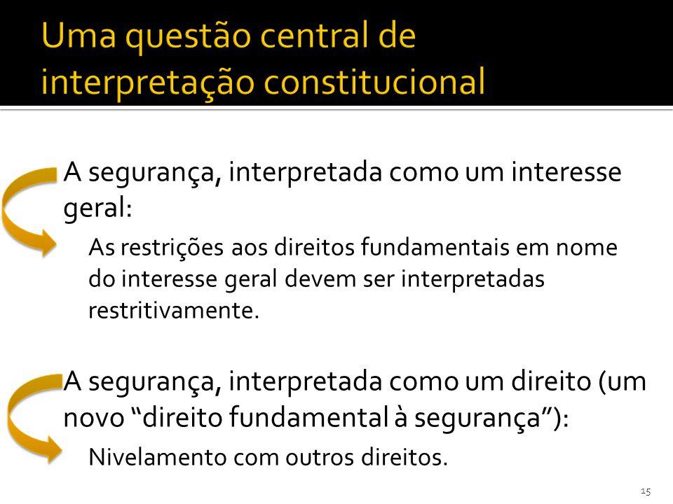 A segurança, interpretada como um interesse geral: As restrições aos direitos fundamentais em nome do interesse geral devem ser interpretadas restritivamente.