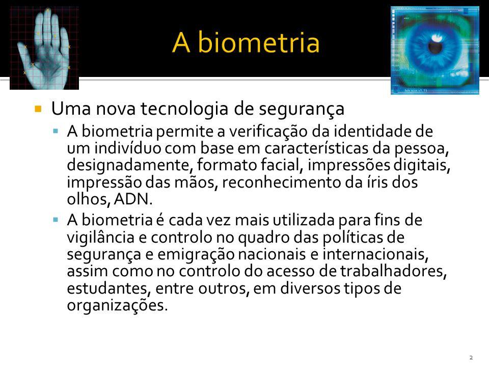 Uma nova tecnologia de segurança A biometria permite a verificação da identidade de um indivíduo com base em características da pessoa, designadamente, formato facial, impressões digitais, impressão das mãos, reconhecimento da íris dos olhos, ADN.