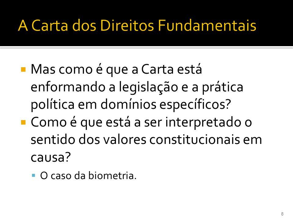 Mas como é que a Carta está enformando a legislação e a prática política em domínios específicos.