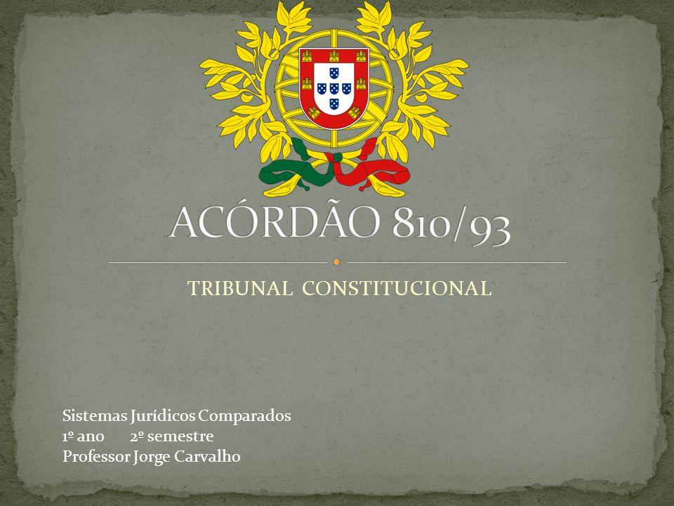 TRIBUNAL CONSTITUCIONAL Sistemas Jurídicos Comparados 1º ano 2º semestre Professor Jorge Carvalho