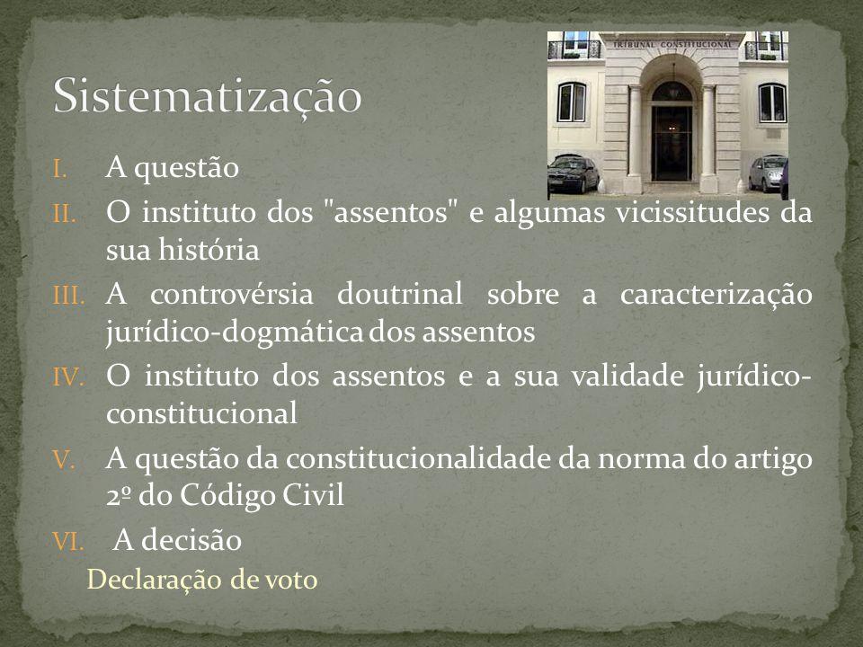I. A questão II. O instituto dos assentos e algumas vicissitudes da sua história III.