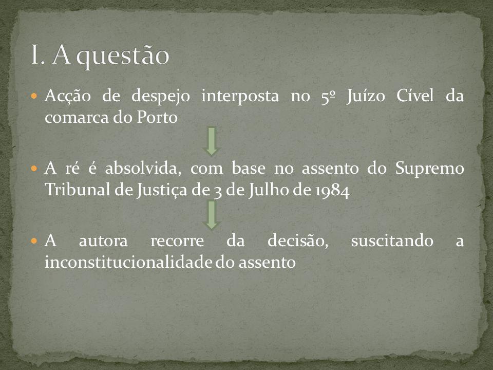 Acção de despejo interposta no 5º Juízo Cível da comarca do Porto A ré é absolvida, com base no assento do Supremo Tribunal de Justiça de 3 de Julho de 1984 A autora recorre da decisão, suscitando a inconstitucionalidade do assento