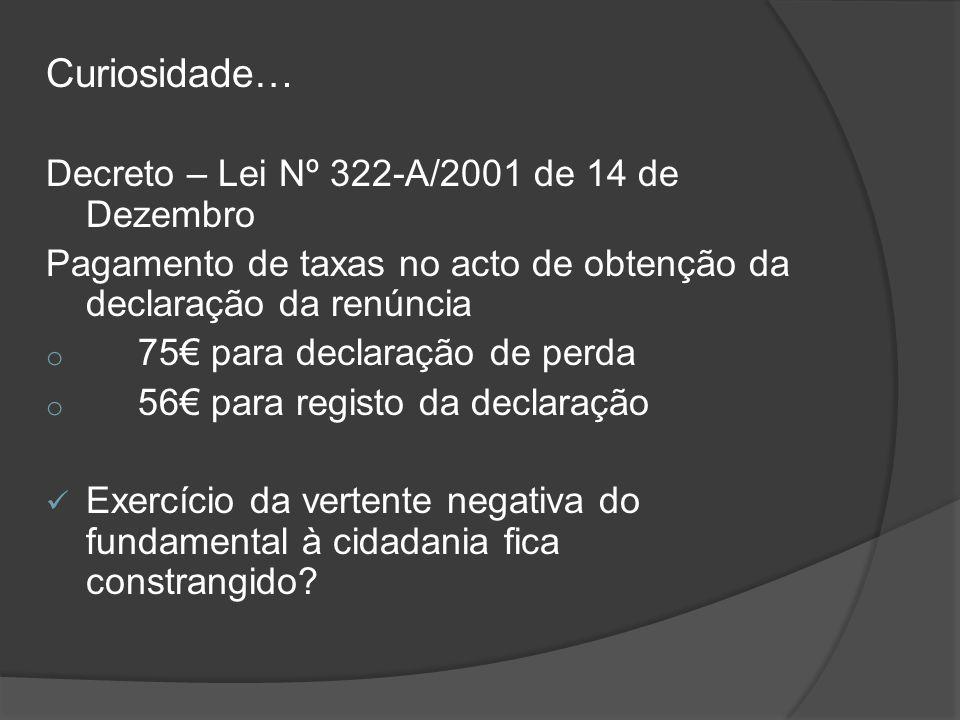 Curiosidade… Decreto – Lei Nº 322-A/2001 de 14 de Dezembro Pagamento de taxas no acto de obtenção da declaração da renúncia o 75 para declaração de pe