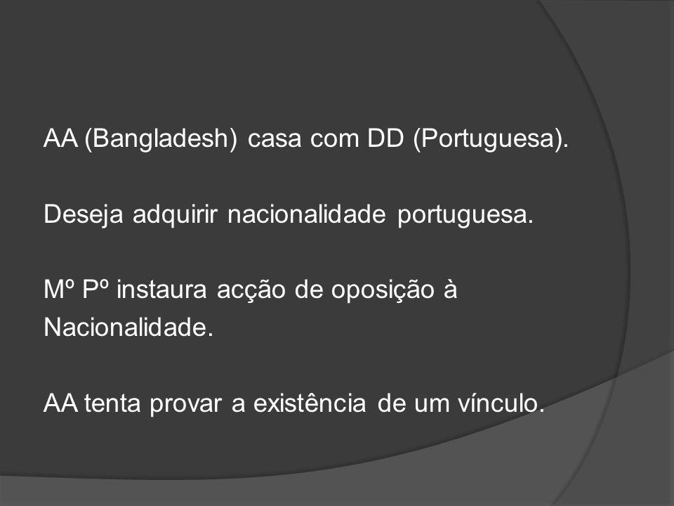 AA (Bangladesh) casa com DD (Portuguesa). Deseja adquirir nacionalidade portuguesa. Mº Pº instaura acção de oposição à Nacionalidade. AA tenta provar