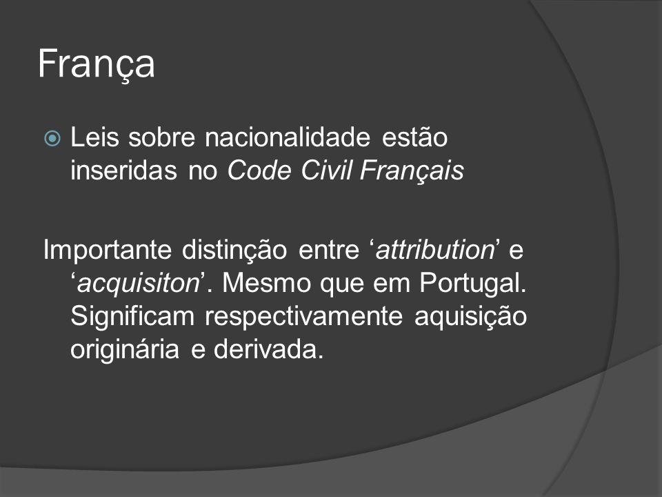 França Leis sobre nacionalidade estão inseridas no Code Civil Français Importante distinção entre attribution eacquisiton. Mesmo que em Portugal. Sign