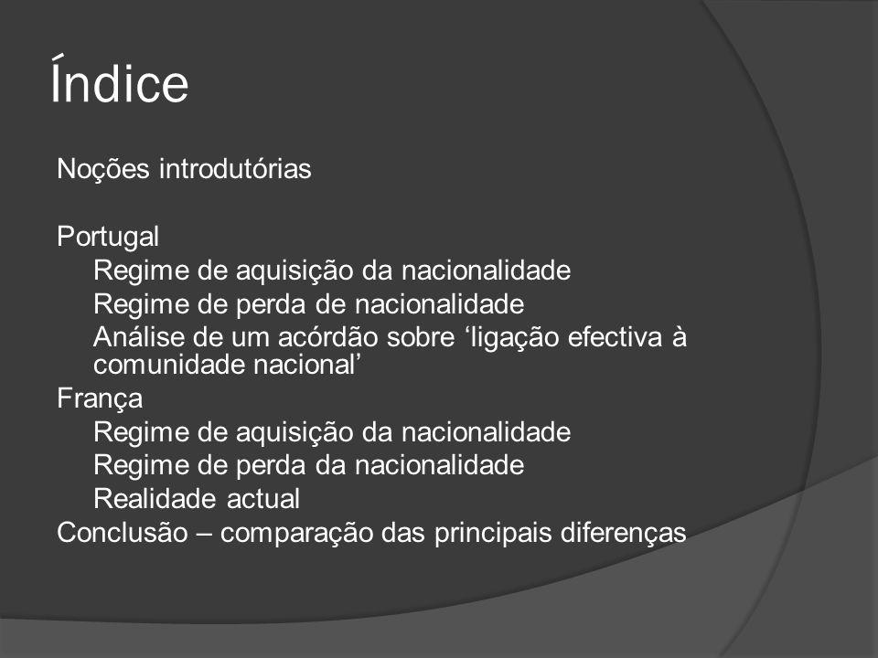 Índice Noções introdutórias Portugal Regime de aquisição da nacionalidade Regime de perda de nacionalidade Análise de um acórdão sobre ligação efectiv