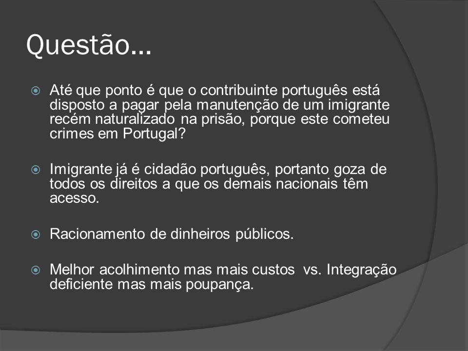 Questão… Até que ponto é que o contribuinte português está disposto a pagar pela manutenção de um imigrante recém naturalizado na prisão, porque este