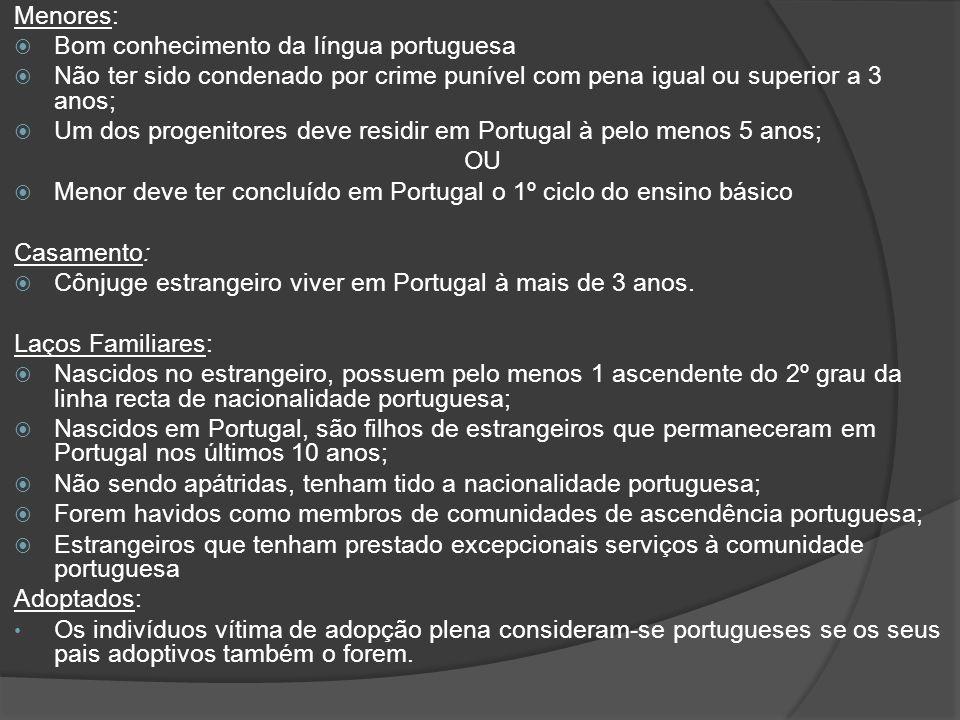 Menores: Bom conhecimento da língua portuguesa Não ter sido condenado por crime punível com pena igual ou superior a 3 anos; Um dos progenitores deve