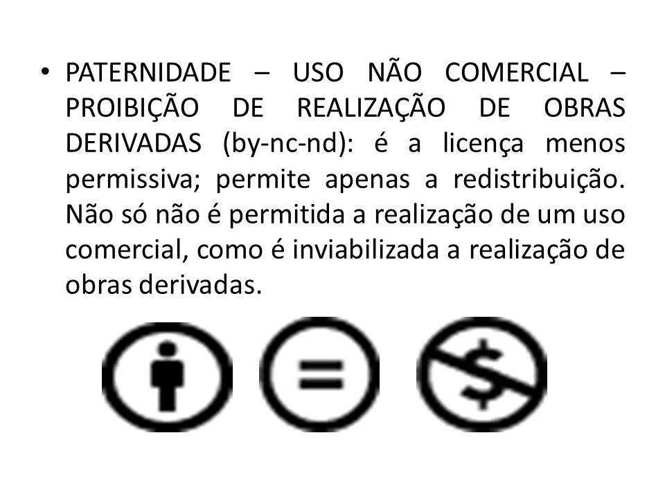 PATERNIDADE – USO NÃO COMERCIAL – PROIBIÇÃO DE REALIZAÇÃO DE OBRAS DERIVADAS (by-nc-nd): é a licença menos permissiva; permite apenas a redistribuição