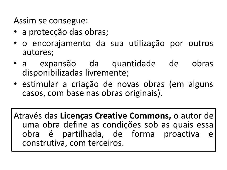 Assim se consegue: a protecção das obras; o encorajamento da sua utilização por outros autores; a expansão da quantidade de obras disponibilizadas liv