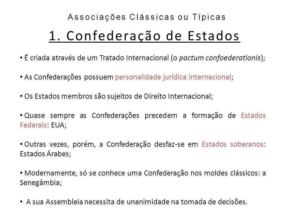 1. Confederação de Estados Associações Clássicas ou Típicas É criada através de um Tratado Internacional (o pactum confoederationis); As Confederações