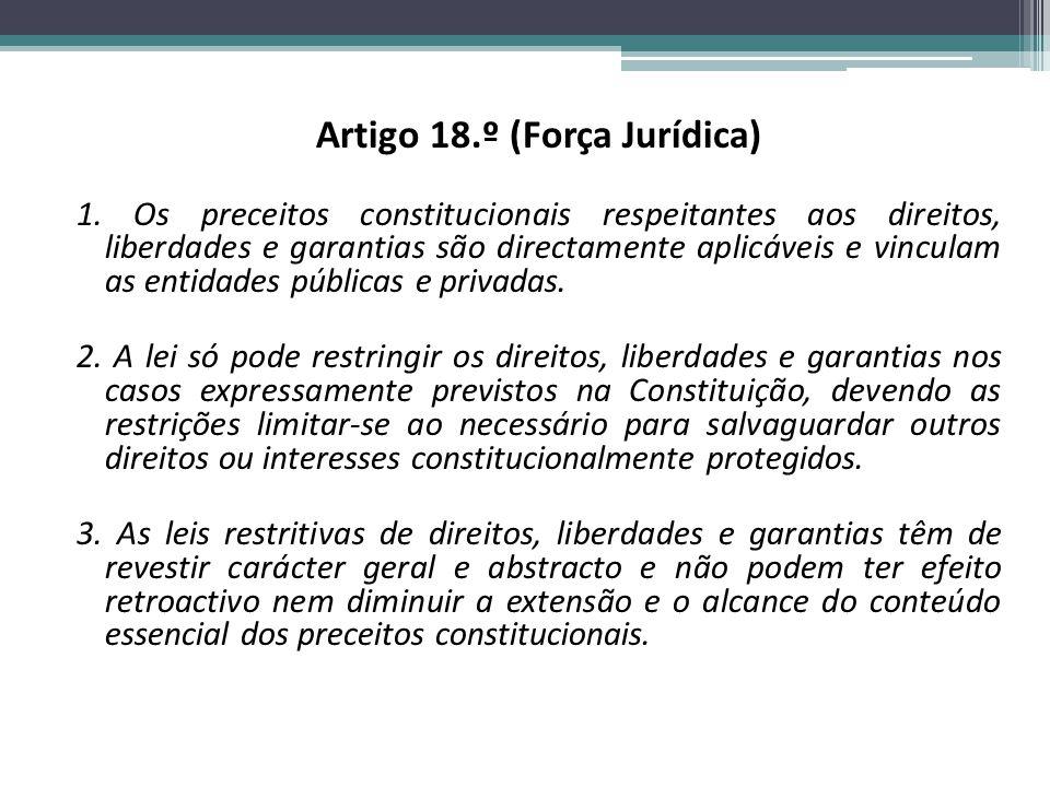 Artigo 18.º (Força Jurídica) 1.