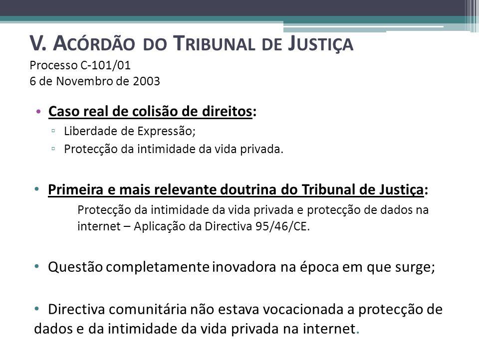 V. A CÓRDÃO DO T RIBUNAL DE J USTIÇA Processo C-101/01 6 de Novembro de 2003 Caso real de colisão de direitos: Liberdade de Expressão; Protecção da in