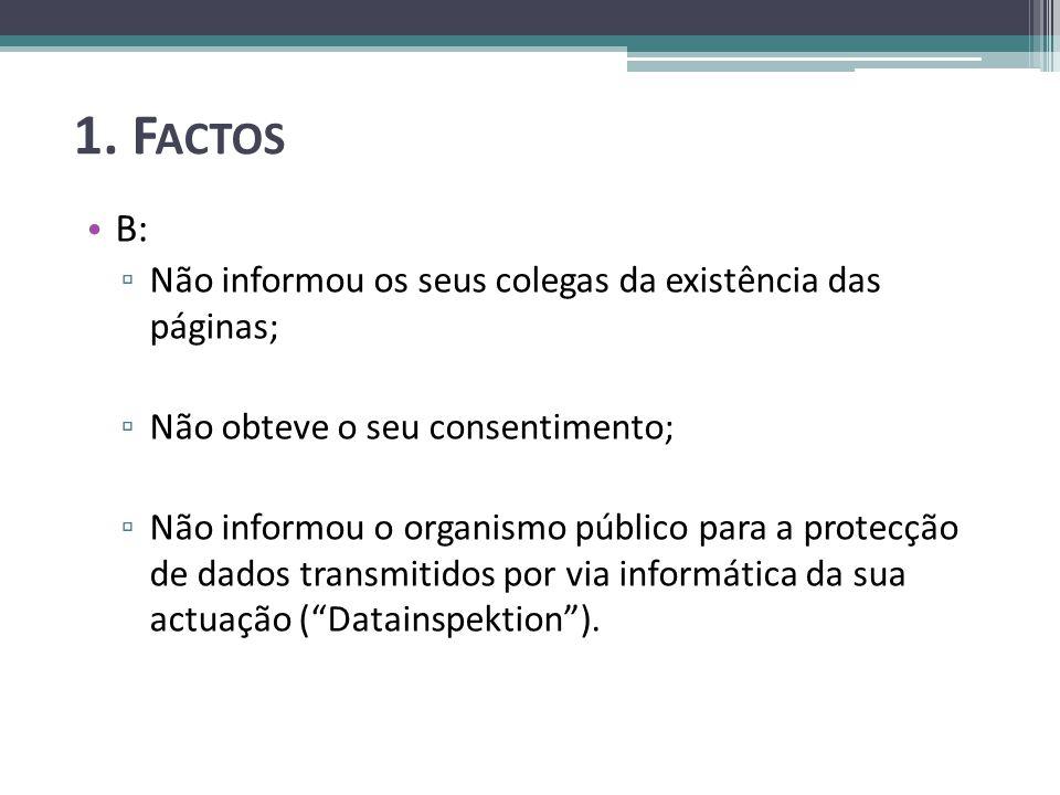 1. F ACTOS B: Não informou os seus colegas da existência das páginas; Não obteve o seu consentimento; Não informou o organismo público para a protecçã