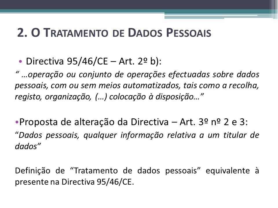 2. O T RATAMENTO DE D ADOS P ESSOAIS Directiva 95/46/CE – Art.
