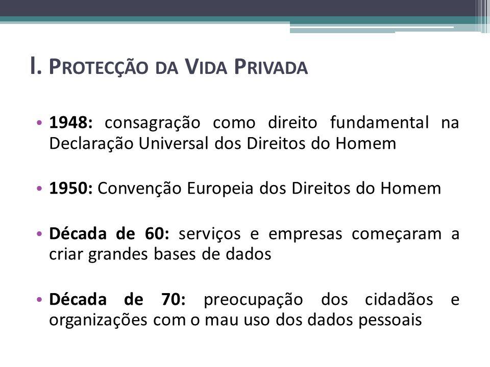I. P ROTECÇÃO DA V IDA P RIVADA 1948: consagração como direito fundamental na Declaração Universal dos Direitos do Homem 1950: Convenção Europeia dos