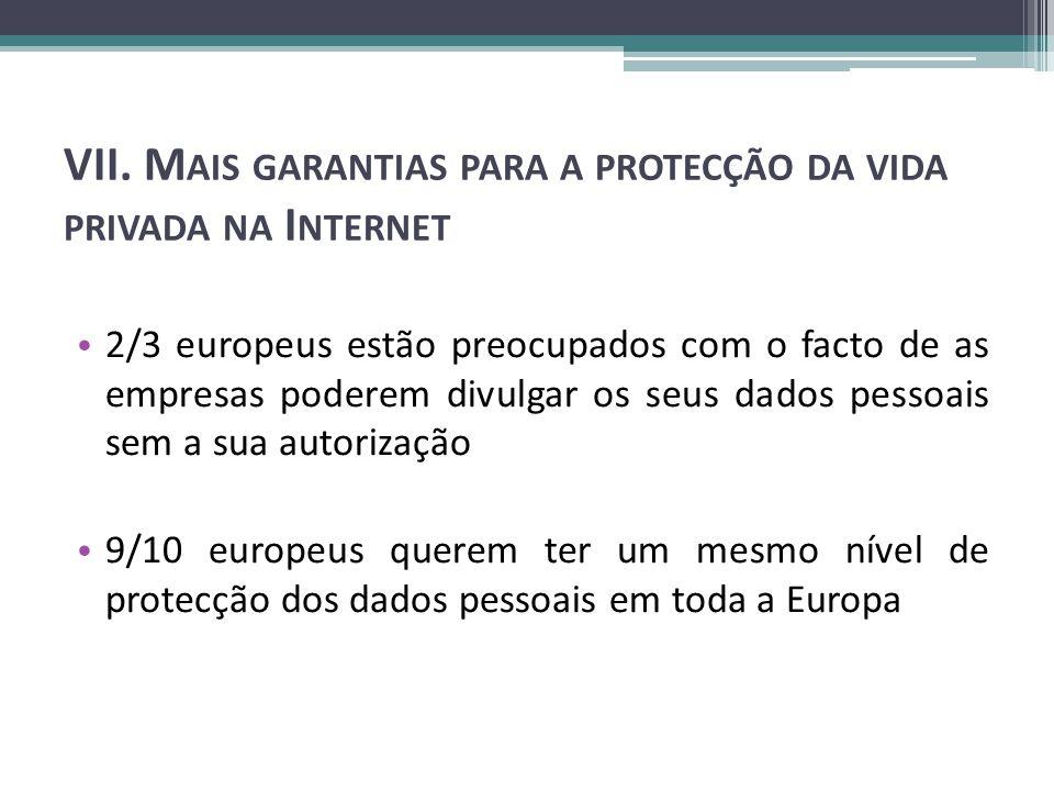 VII. M AIS GARANTIAS PARA A PROTECÇÃO DA VIDA PRIVADA NA I NTERNET 2/3 europeus estão preocupados com o facto de as empresas poderem divulgar os seus
