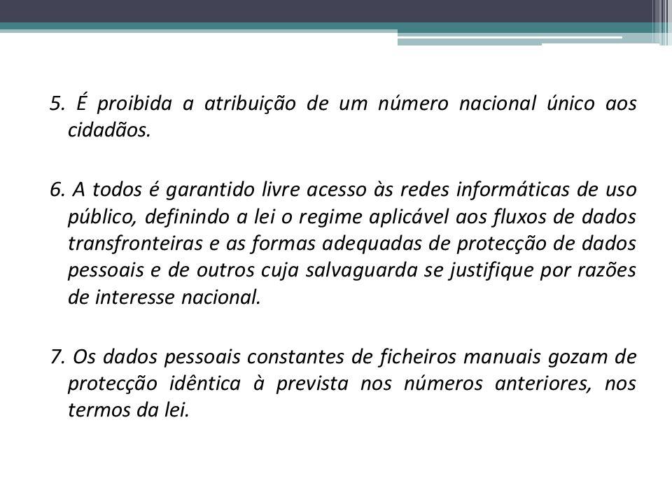 5. É proibida a atribuição de um número nacional único aos cidadãos.