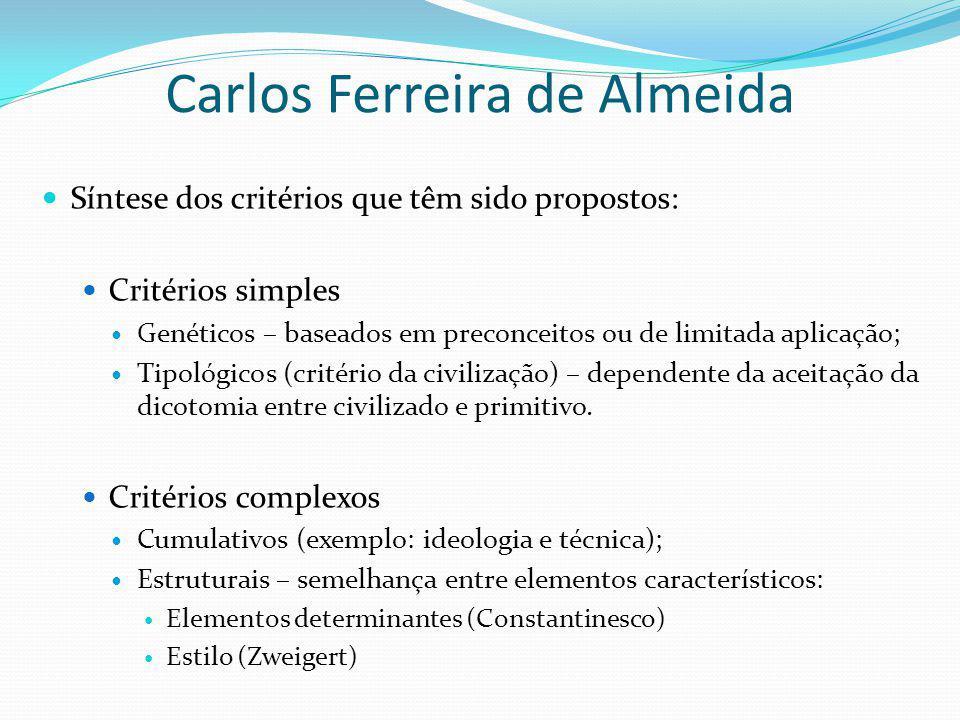 Carlos Ferreira de Almeida Síntese dos critérios que têm sido propostos: Critérios simples Genéticos – baseados em preconceitos ou de limitada aplicaç