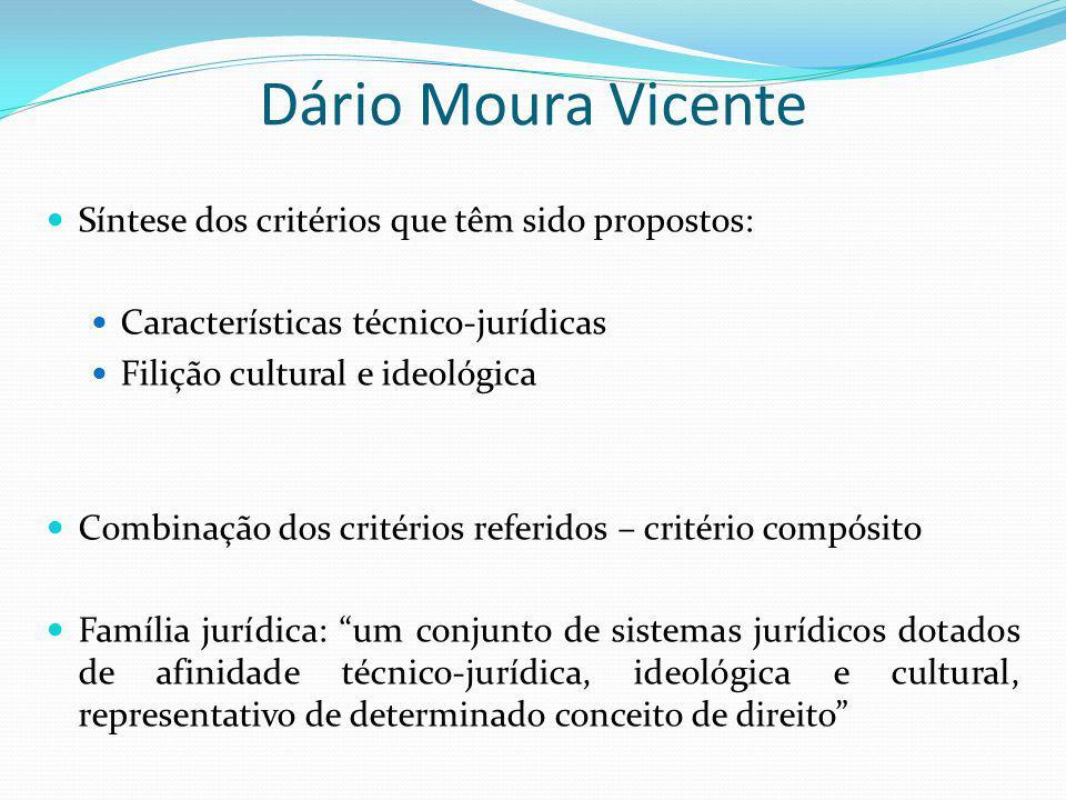 Dário Moura Vicente Síntese dos critérios que têm sido propostos: Características técnico-jurídicas Filição cultural e ideológica Combinação dos crité