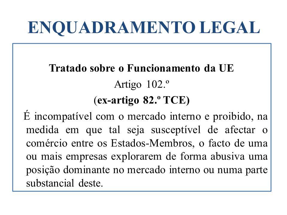 ENQUADRAMENTO LEGAL Tratado sobre o Funcionamento da UE Artigo 102.º (ex-artigo 82.º TCE) É incompatível com o mercado interno e proibido, na medida e