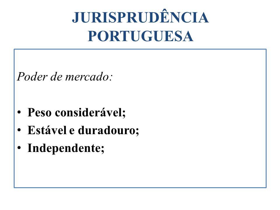 JURISPRUDÊNCIA PORTUGUESA Poder de mercado: Peso considerável; Estável e duradouro; Independente;