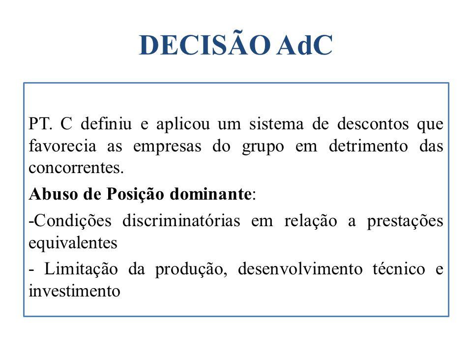DECISÃO AdC PT. C definiu e aplicou um sistema de descontos que favorecia as empresas do grupo em detrimento das concorrentes. Abuso de Posição domina