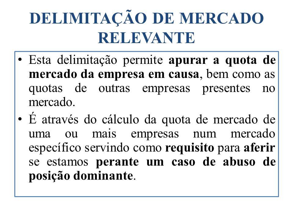 DELIMITAÇÃO DE MERCADO RELEVANTE Esta delimitação permite apurar a quota de mercado da empresa em causa, bem como as quotas de outras empresas present