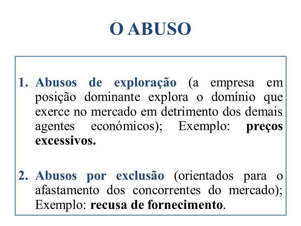 O ABUSO 1.Abusos de exploração (a empresa em posição dominante explora o domínio que exerce no mercado em detrimento dos demais agentes económicos); E