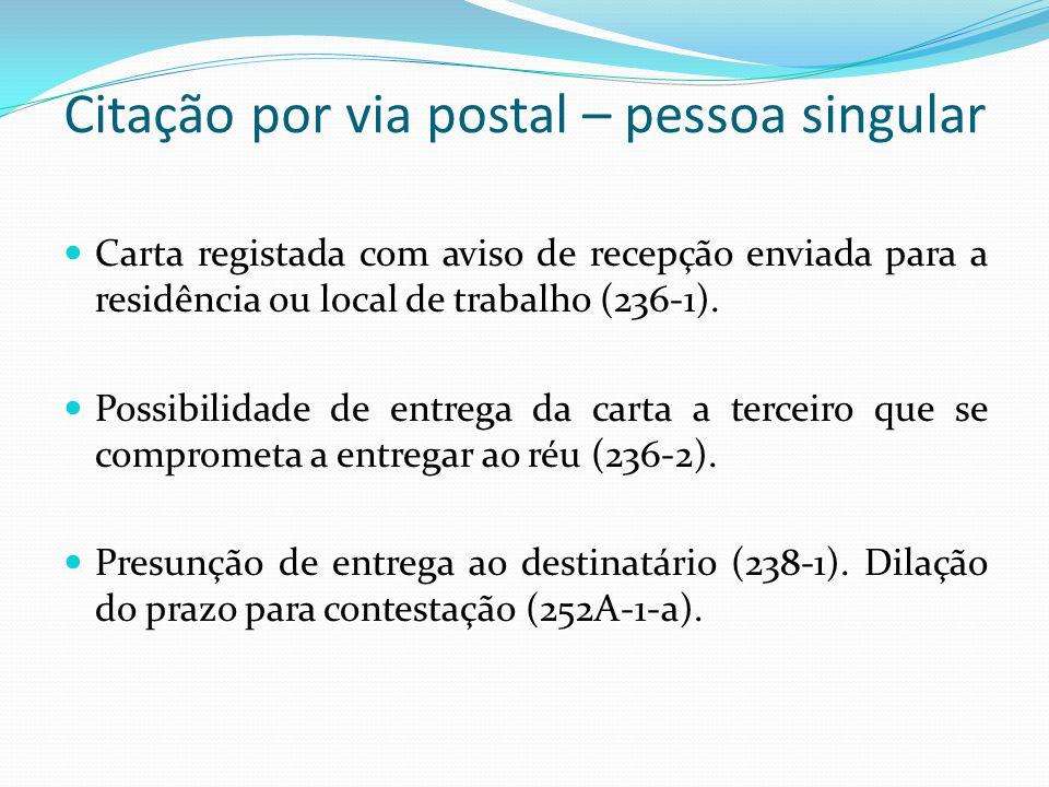 Citação por via postal – pessoa singular Carta registada com aviso de recepção enviada para a residência ou local de trabalho (236-1). Possibilidade d