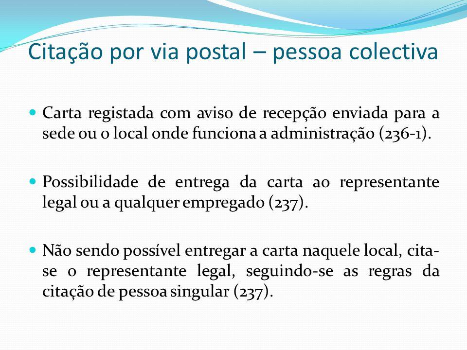 Citação por via postal – pessoa colectiva Carta registada com aviso de recepção enviada para a sede ou o local onde funciona a administração (236-1).