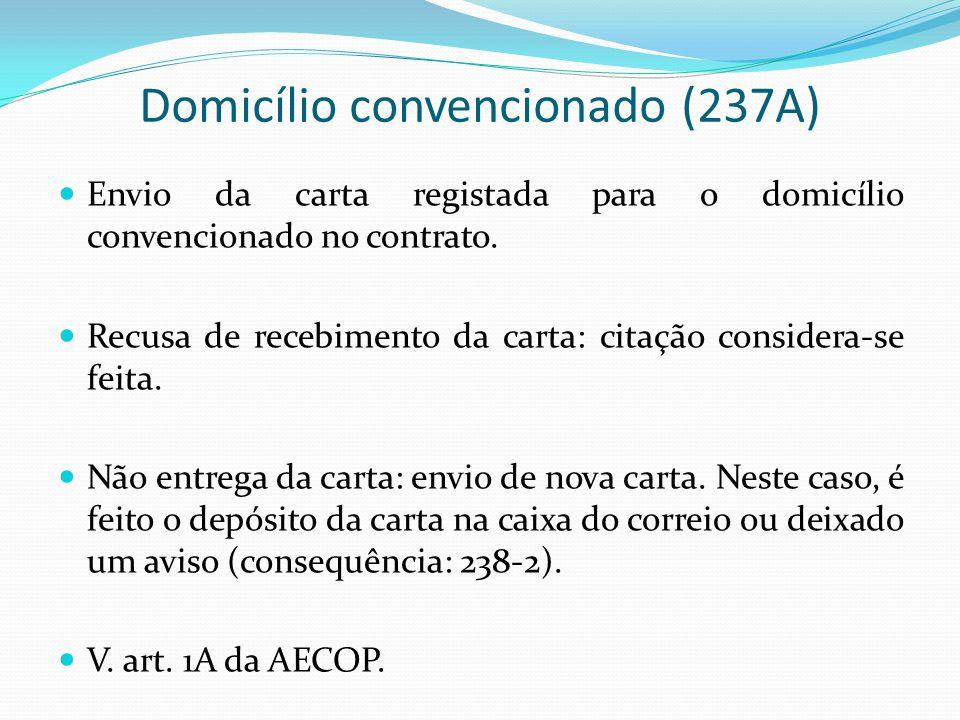 Domicílio convencionado (237A) Envio da carta registada para o domicílio convencionado no contrato. Recusa de recebimento da carta: citação considera-
