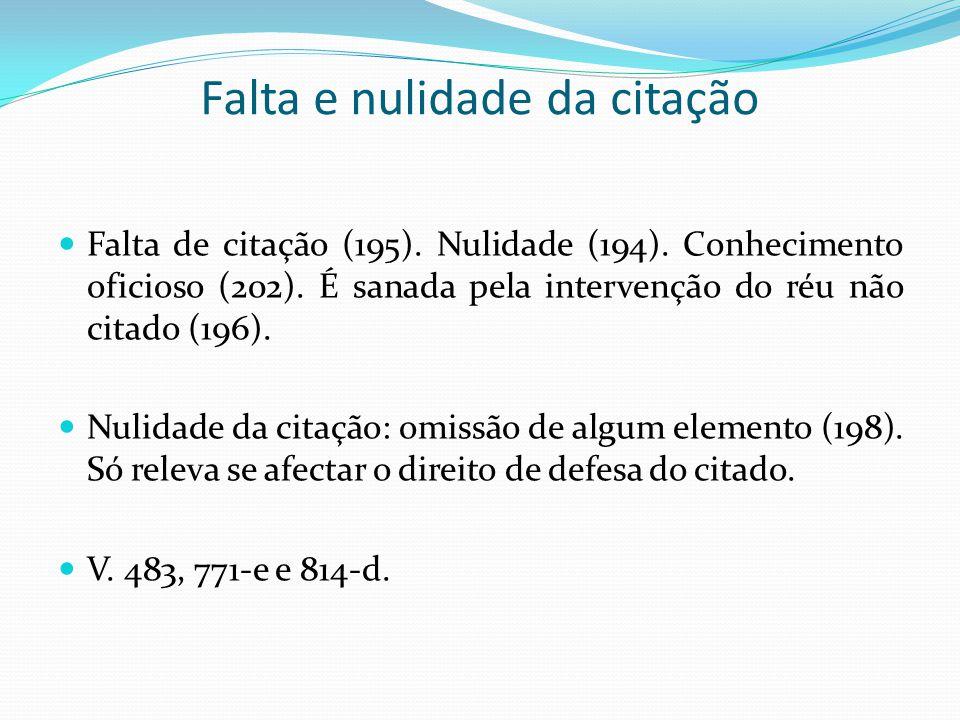 Falta e nulidade da citação Falta de citação (195).