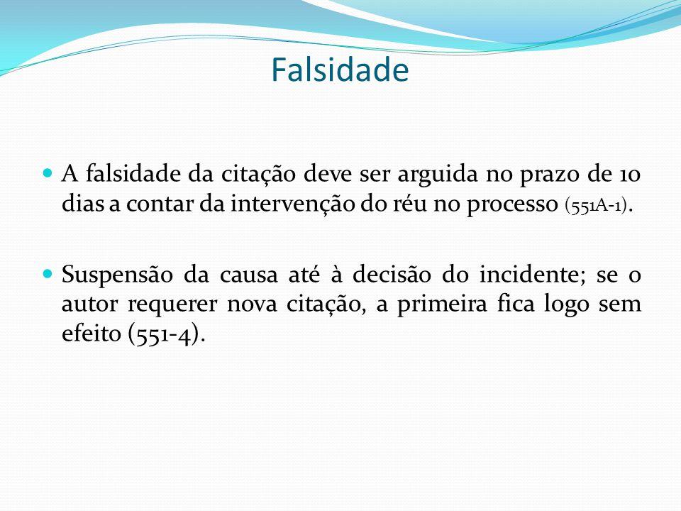 Falsidade A falsidade da citação deve ser arguida no prazo de 10 dias a contar da intervenção do réu no processo (551A-1). Suspensão da causa até à de