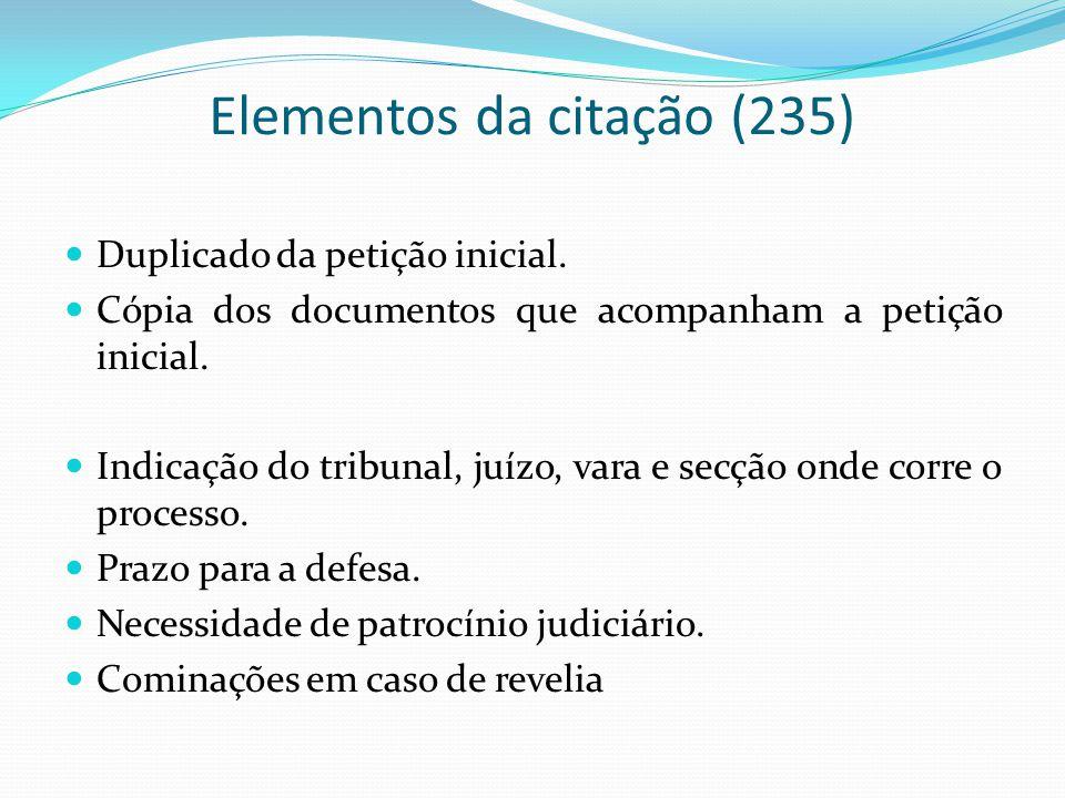 Elementos da citação (235) Duplicado da petição inicial. Cópia dos documentos que acompanham a petição inicial. Indicação do tribunal, juízo, vara e s
