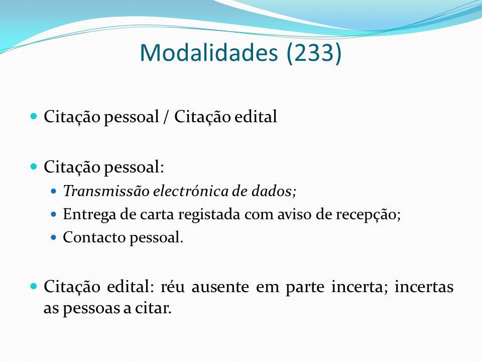 Modalidades (233) Citação pessoal / Citação edital Citação pessoal: Transmissão electrónica de dados; Entrega de carta registada com aviso de recepção; Contacto pessoal.