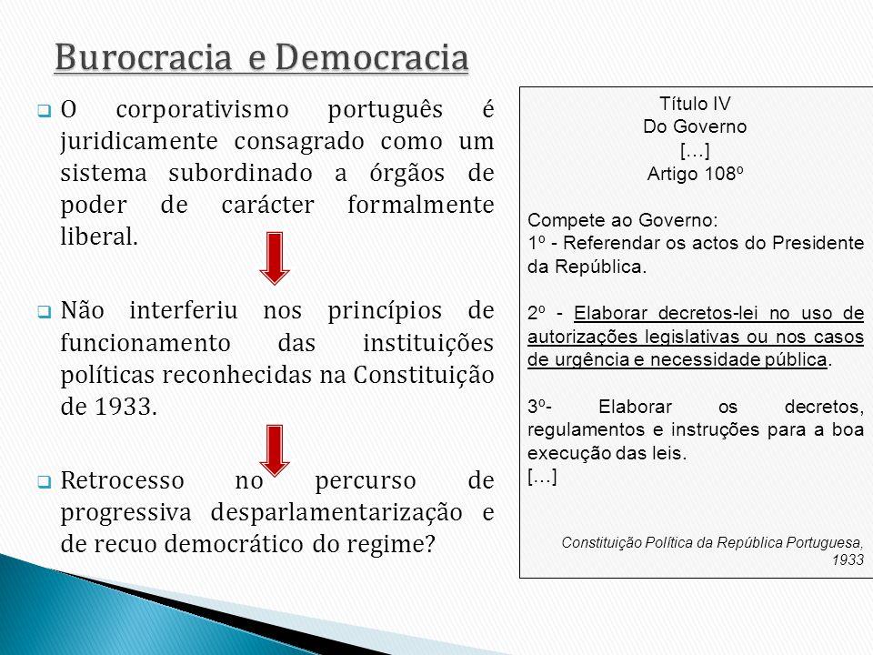 O corporativismo português é juridicamente consagrado como um sistema subordinado a órgãos de poder de carácter formalmente liberal. Não interferiu no