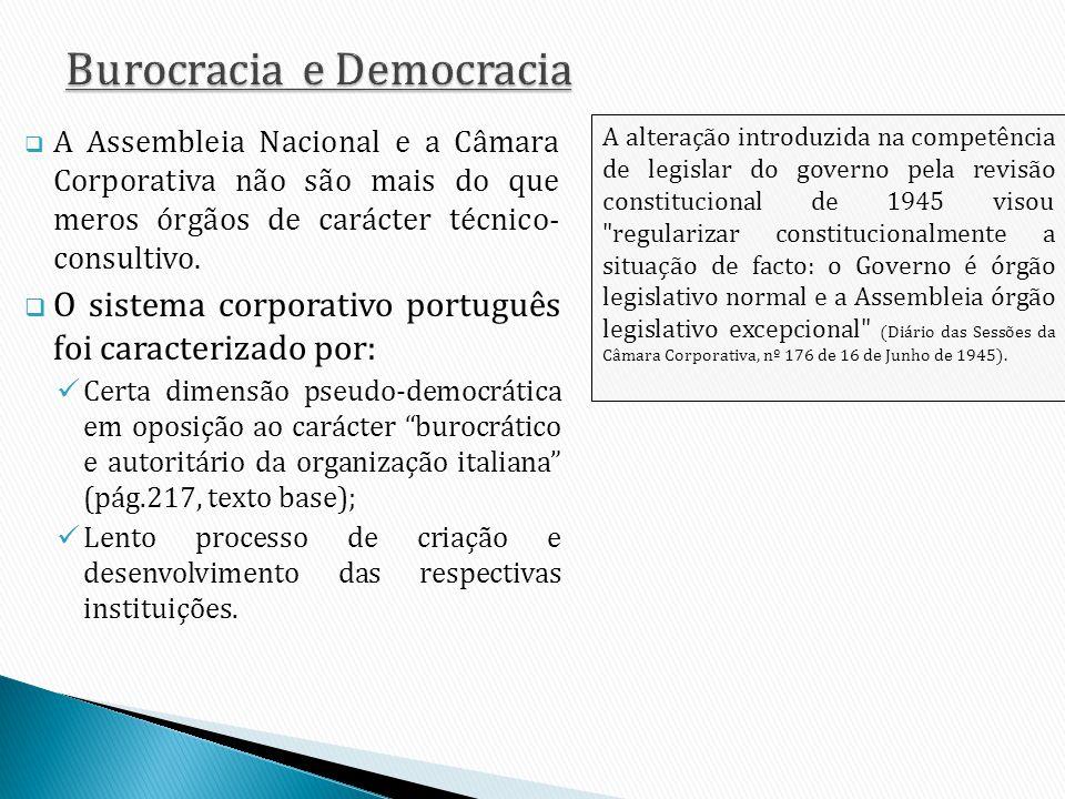 A Assembleia Nacional e a Câmara Corporativa não são mais do que meros órgãos de carácter técnico- consultivo. O sistema corporativo português foi car