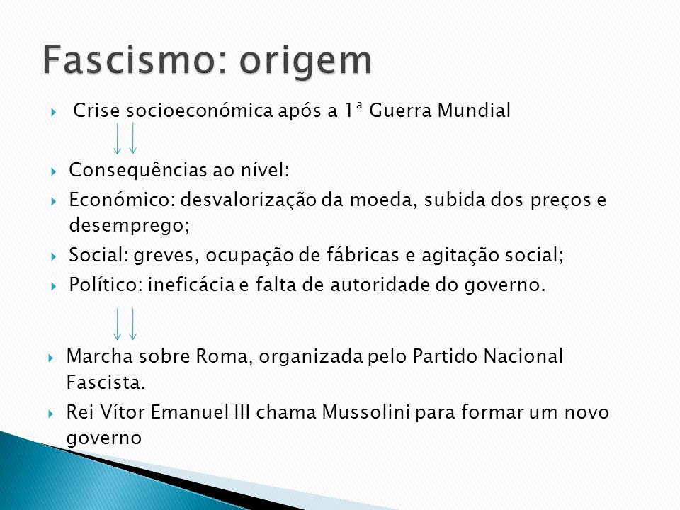 Crise socioeconómica após a 1ª Guerra Mundial Consequências ao nível: Económico: desvalorização da moeda, subida dos preços e desemprego; Social: grev