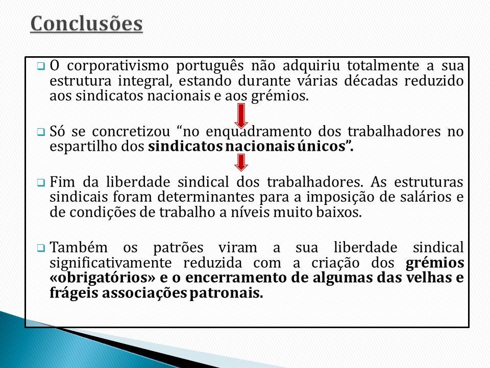 O corporativismo português não adquiriu totalmente a sua estrutura integral, estando durante várias décadas reduzido aos sindicatos nacionais e aos gr