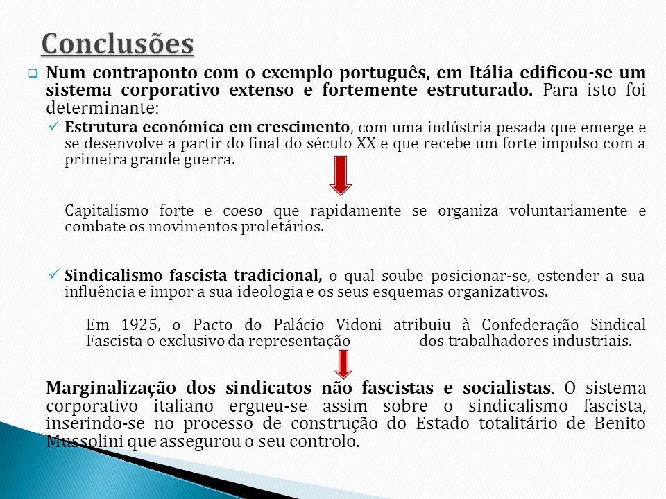 Num contraponto com o exemplo português, em Itália edificou-se um sistema corporativo extenso e fortemente estruturado. Para isto foi determinante: Es