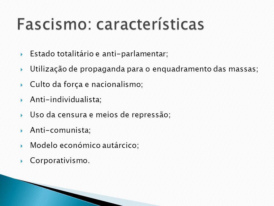 Estado totalitário e anti-parlamentar; Utilização de propaganda para o enquadramento das massas; Culto da força e nacionalismo; Anti-individualista; U