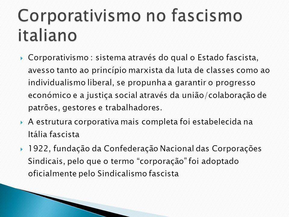 Corporativismo : sistema através do qual o Estado fascista, avesso tanto ao princípio marxista da luta de classes como ao individualismo liberal, se p