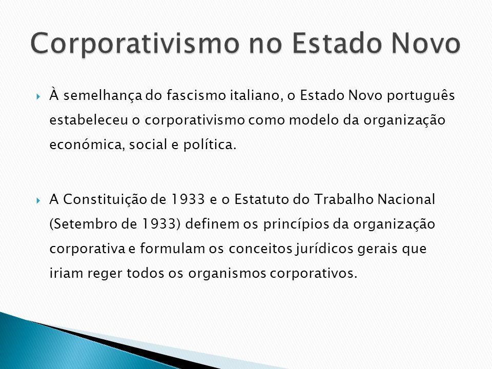 À semelhança do fascismo italiano, o Estado Novo português estabeleceu o corporativismo como modelo da organização económica, social e política. A Con