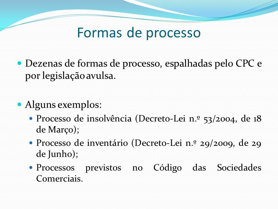 Formas de processo declarativo – CPC Processo comum / Processos especiais (arts.
